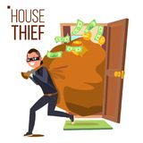 Thief And Door Vector. Bandit With Bag. Breaking Into House Through Door. Insurance Concept. Burglar, Robber In Mask. Thief, Robbery, Purse. Isolated Cartoon Stock Image