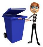 Thief with Dust bin Stock Photos