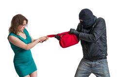 Thief is fighting with woman and stealing handbag. Isolated on white. Royalty Free Stock Photos