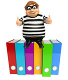 Thief with Files. 3d rendered illustration of Thief with Files Royalty Free Stock Images