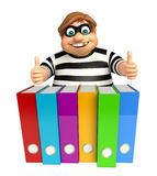 Thief with Files. 3d rendered illustration of Thief with Files Stock Photos
