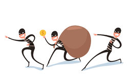 Thief Flat character design. Bandit with big bag. Robber in mask in various poses. Cartoon Vector Illustration Royalty Free Stock Image