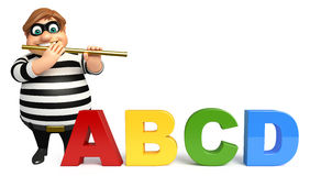 Thief with Flute & ABCD sign Royalty Free Stock Images