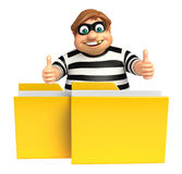 Thief with Folder. 3d rendered illustration of Thief with Folder Stock Photo
