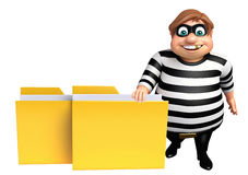 Thief with Folder. 3d rendered illustration of Thief with Folder Royalty Free Stock Image