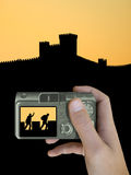 Thief on fortress wall on LCD. Of compact camera (zoom Royalty Free Stock Photography