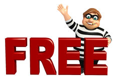 Thief with Free sign Royalty Free Stock Images