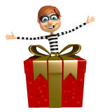 Thief with Giftbox. 3d rendered illustration of Thief with Giftbox Stock Photo