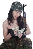 Thief girl in camouflage Royalty Free Stock Photos