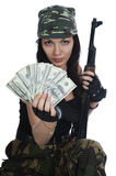 Thief girl in camouflage Stock Photos
