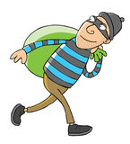 Thief & Green bag. A thief carries his stolen goods Royalty Free Stock Photos