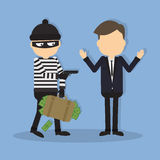Thief with a gun. Funny cartoon thief in black mask stealing a bag. Concept of fraud, crime royalty free illustration