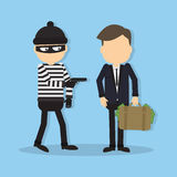 Thief with a gun. Funny cartoon thief in black mask stealing a bag. Concept of fraud, crime and blackmail stock illustration
