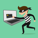 Thief Hacker steal your data credit card and money Royalty Free Stock Image