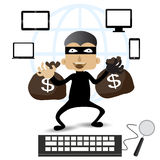 Thief Hacker steal your data and money after paid with credits card internet on-line. Stock Photo