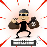Thief Hacker steal your data and money after paid with credits card internet on-line. Stock Images
