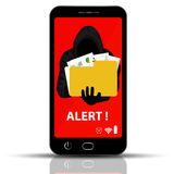 Thief. Hacker stealing field in smart phone Cartoon Vector Illustration. Stock Image