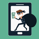 Thief. Hacker stealing money on smart phone. Royalty Free Stock Photography