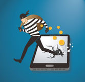 Thief Hacker Stealing Money On Smart Phone Royalty Free Stock Images