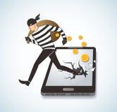 Thief Hacker Stealing Money On Smart Phone. EPS 10 Stock Photos