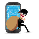 Thief. Hacker stealing phone Cartoon Vector Illustration. Thief. Hacker stealing phone Cartoon Illustration Royalty Free Stock Images