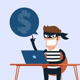 Thief. Hacker stealing sensitive data as passwords from a personal computer useful for anti phishing and internet viruses campaign. S.concept hacking internet Stock Image