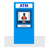 Thief. Hacker stealing sensitive data from ATM machine. Stock Photography