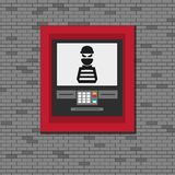 Thief. Hacker stealing sensitive data from ATM machine. Phishing, ATM skimming. Stock Images