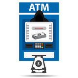 Thief. Hacker stealing sensitive data and money from ATM machine.  Stock Images