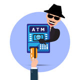 Thief. Hacker stealing sensitive password from ATM machine. Phishing, ATM skimming. Cartoon Vector Illustration. Stock Image