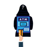Thief. Hacker stealing sensitive password from ATM machine.  Royalty Free Stock Images