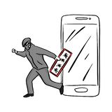 Thief or hacker use key to hack into smartphone vector illustration sketch doodle hand drawn with black lines isolated on white vector illustration