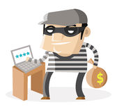 A thief hacking a laptop. And stealing money royalty free illustration