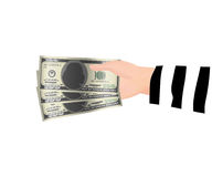 Thief hand holding 100 dollar banknotes money. A thief hand holding 100 dollar banknotes money royalty free illustration