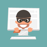 Thief holding a credit card. Concept of safe online shopping. Vector Illustration. Royalty Free Stock Image