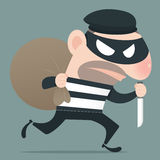 Thief. Holding knife in his hand and carrying a money bag, EPS10, Vector Royalty Free Stock Photography