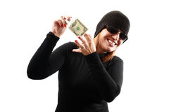 Thief holding money Royalty Free Stock Images