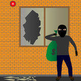 Thief. Illustration of sneaking thief with a sack Stock Photography