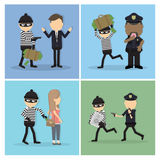 Thief illustrations set. Royalty Free Stock Photo