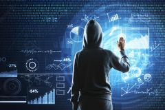 Thief and information concept. Hooded female hacker using digital business interface on blurry background. Thief and information concept. Double exposure stock photo