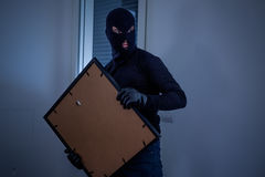 Thief inside home stealing a painting. From the wall stock image