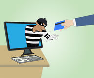 Thief through the Internet from computer1 Royalty Free Stock Images