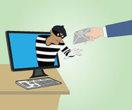 Thief through the Internet from computer and Hand hold mail Royalty Free Stock Images