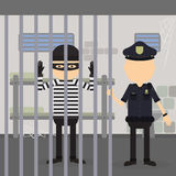 Thief in jail. royalty free illustration