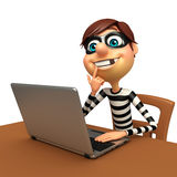 Thief with Laptop. 3d rendered illustration of Thief with Laptop Royalty Free Stock Photography