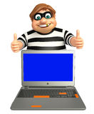 Thief with Laptop. 3d rendered illustration of Thief with Laptop Royalty Free Stock Photos