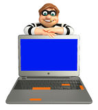 Thief with Laptop. 3d rendered illustration of Thief with Laptop Royalty Free Stock Photo