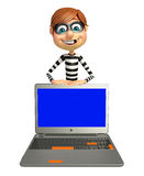 Thief with Laptop. 3d rendered illustration of Thief with Laptop Stock Image
