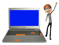 Thief with Laptop. 3d rendered illustration of Thief with Laptop Stock Images