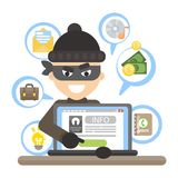Thief with laptop. Thief with laptop trying to stela money Stock Images